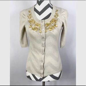 {Rebecca Taylor} Ivory Yellow Beaded Neck Cardigan